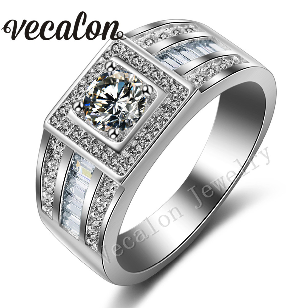 vecalon men engagement band solitaire 1ct cz aaaaa zircon stone 10kt white gold filled wedding ring - Cheap Wedding Rings For Men