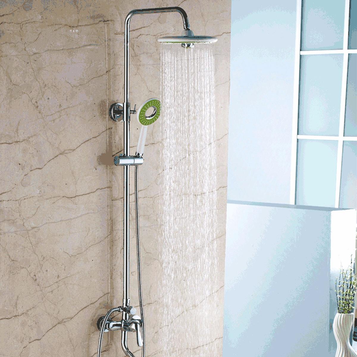 2pcs Bathroom Round Rain Rainfall Top Shower Head Hand Held Showerhead Sets Green White Bath Shower green top