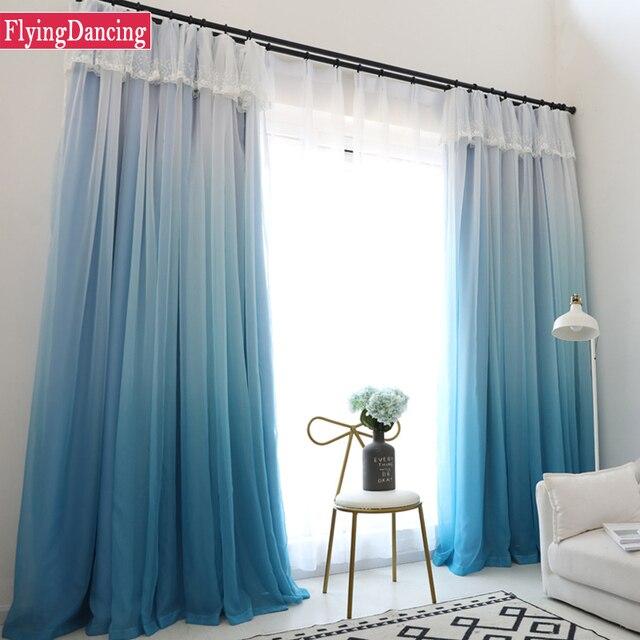 2 strati solido tende per camera da letto moderna blu blackout soggiorno tende whitetulle tende - Tende camera da letto moderna ...