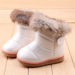 Image 3 - COZULMA Winter Plush Baby Girls Snow Boots Warm Shoes Pu Leather Flat With Baby Toddler Shoes Outdoor Snow Boots Girls Kids Shoe