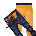 Thick JEANS Men Winter Warm Velvet Thick Denim JEANS New Male Straight Blue denim trousers Heavyweight Long Jeans Size 40