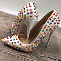 White multi-color rivets high heels exclusive brand patent PU rivet shallow mouth high heels pump wave 10cm 12cm