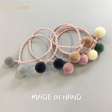 Korean hair accessories cute color yarn ball bow double rope band leather head tie pink  accesorios para el