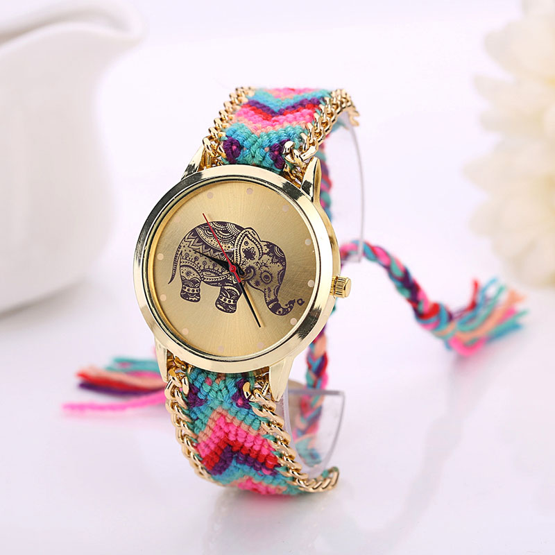 Watch Women Fashion 1PC Elephant Pattern Weaved Rope Band Bracelet Quartz Watch Dialwatch Gift relogio feminino смеситель для кухни omoikiri umi bn нержавеющая сталь 4994239