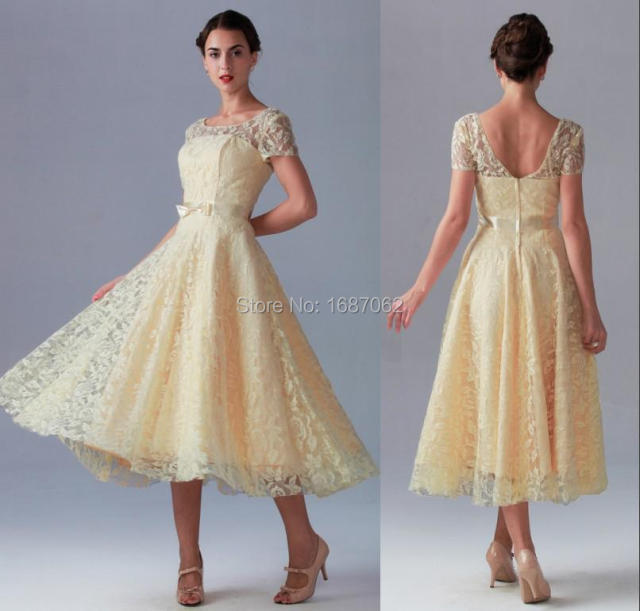 42d42d1dd1f Short Sleeves Scoop Neck A Line Lace Bridesmaid Dresses Tea Length Yellow Prom  Dresses vestido de festa longo Summer Dresses