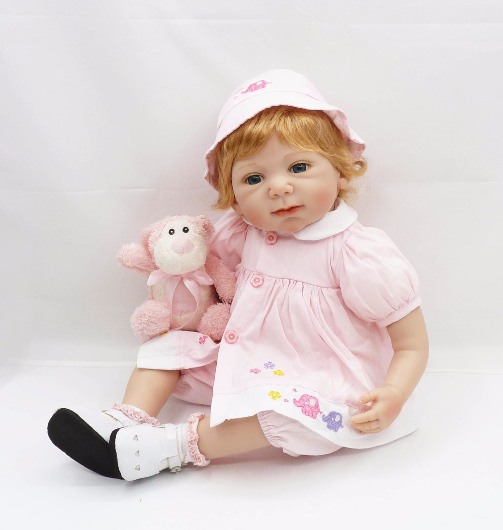 55cm Silicone Reborn Baby Doll Toy 22inch Princess Toddler Girls Babies Dolls Birthday Gift Fashion Xmas Present Play House Toy 55cm silicone reborn baby doll toy lifelike newborn toddler princess babies doll with bear girls bonecas birthday gift present