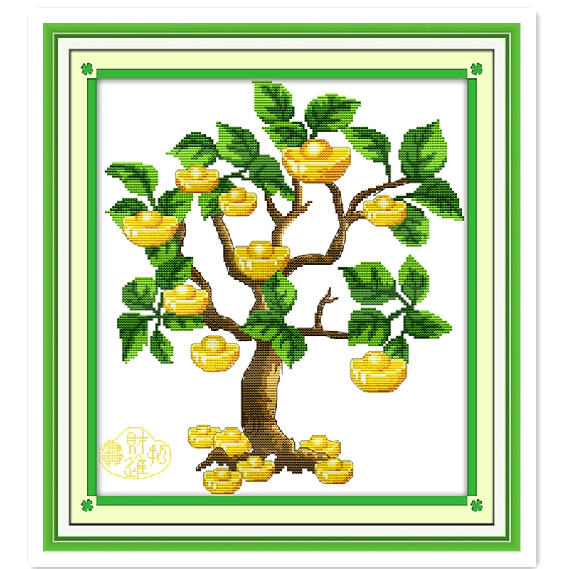 Money Tree (3) Embroidery Cross Set 11CT 14CT Printed On Canvas Cross Stitch Kit Chinese Counted Cross Stitch Pattern Painting