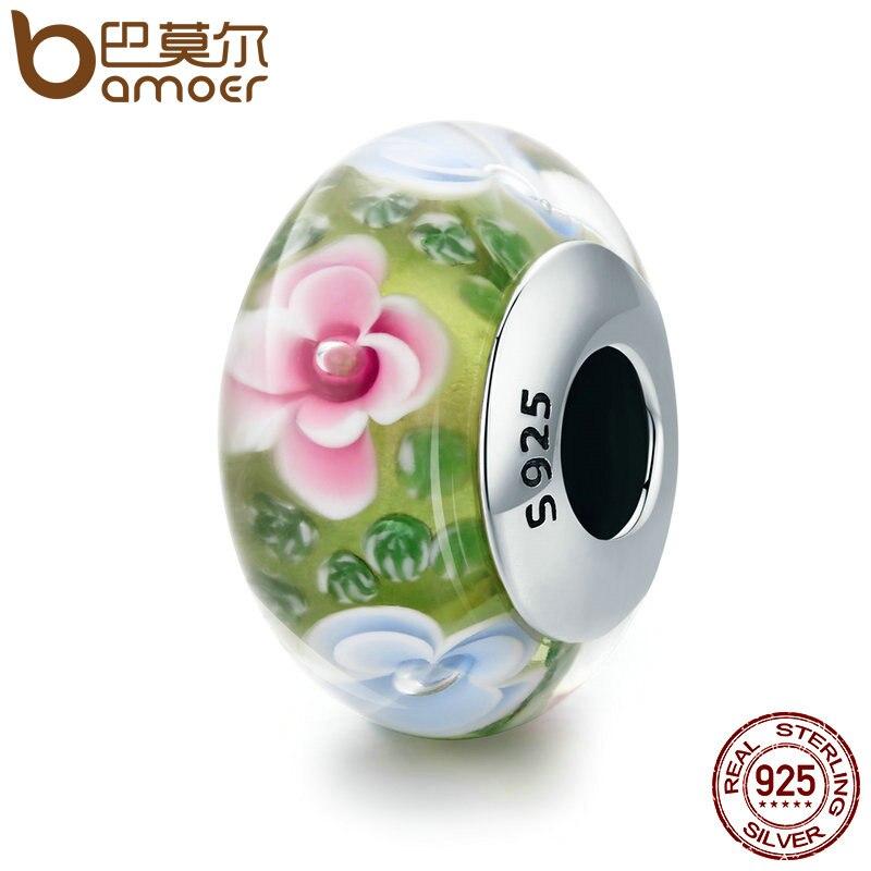 BAMOER Printemps Collection 100% 925 Sterling Argent Fleur Pétale Vert En Verre de Murano Perles fit Charm Bracelet Bijoux S925 SCZ073