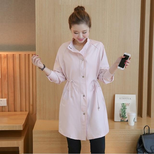 Otoño Abrigos Mujer Elegante Larga Cazadora Informal Estilo Coreano Cintura Delgada Solid Loose Ladies Trench Venta Caliente Blanco, rosa XL