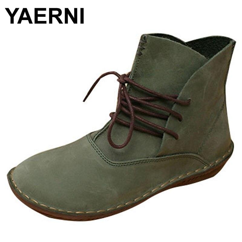 YAERNI женские сапоги ручной работы из натуральной кожи женская обувь весна / осень зашнуровать ботильоны женская обувь шишка