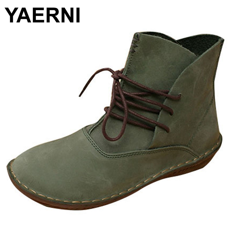 YAERNI Handmade Women Boots Genuine Leather Ladies Shoes Spring/Autumn Lace up Ankle Boots Female Footwear 2017 xiangban women ankle boots handmade genuine leather woman short boots spring autumn round toe female footwear