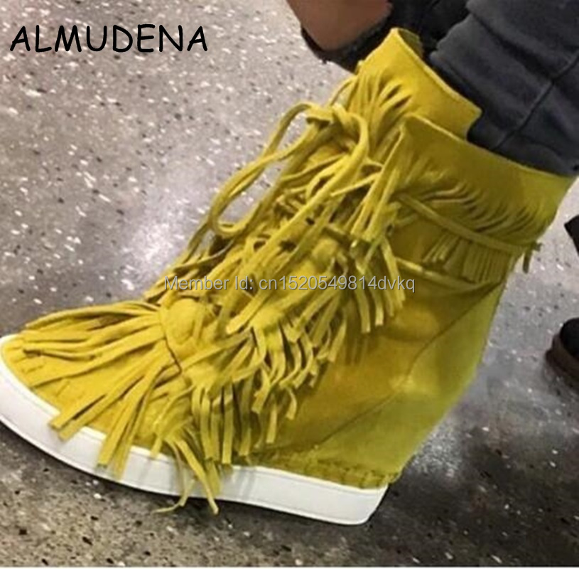 Top Quality Women Spring Autumn Fringed Wedge Hidden Casual Shoes Suede Leather Platform Ankle Boots Lace Up Woman Shoes