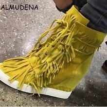 Najwyższej jakości kobiety wiosna jesień z frędzlami klinowe ukryte buty w stylu casual zamszowe platformy botki Lace Up kobieta buty