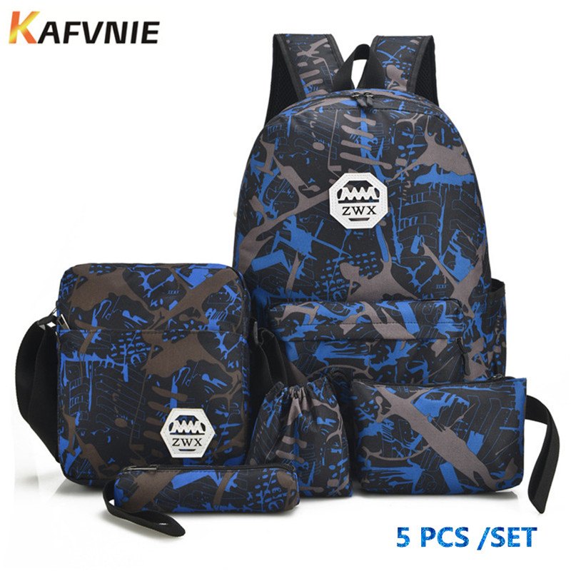 5pcs Male backpack bag set red and white high school bags for boys one shoulder big student book bag men school backpack women