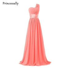 Coral Colored Bridesmaid Dresses One Shoulder Chiffon Burgundy Bridesmaid  Dresses Royal Blue Gown Emerald Green Prom 8e10a1926920