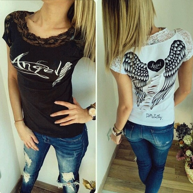 Women's T shirt Back Hollow Angel Wings T-shirt Tops Summer Style Woman Lace Short Sleeve Tops T shirts Clothing 2