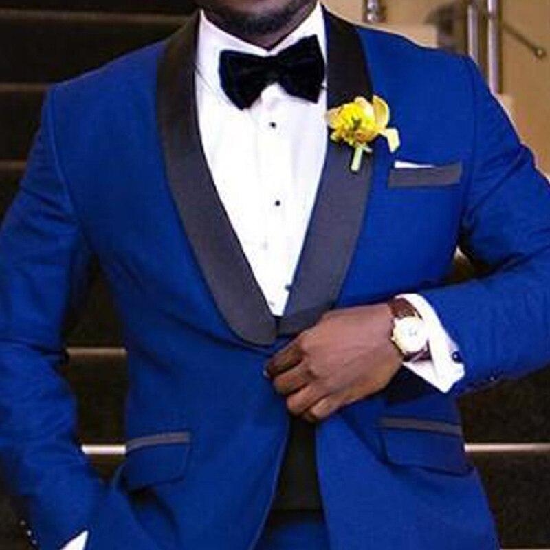 Noir Business Royal Party Hommes Revers Button Costumesveste PantalonSame Deux De Marié Bleu As Image Piece Smokings 2018 One Châle Mariage kXiuZP