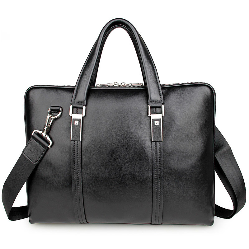 High Quality Genuine Cow Leather Classic Black Men Briefcase Business Handbag For Male 15 Inch Laptop