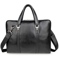 High Genuine Cow Leather Black Men Leather Briefcase Business Handbag Fit For 15 Laptop PR097177A