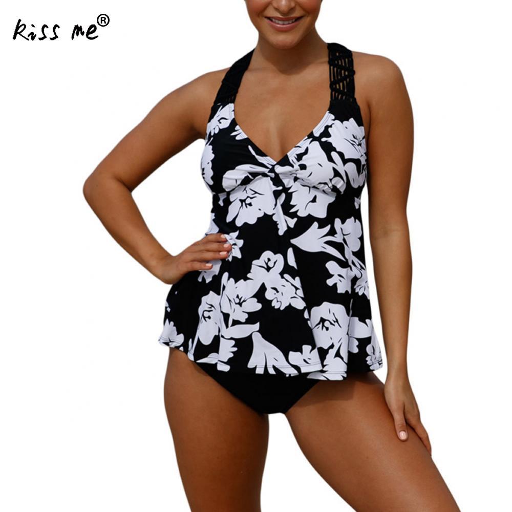 2 Pieces Bikini 2018 Plus Size Swimwear Female Black printed Retro Swimsuit Women With thong Tankini Set Bathing Suit Beach Wear