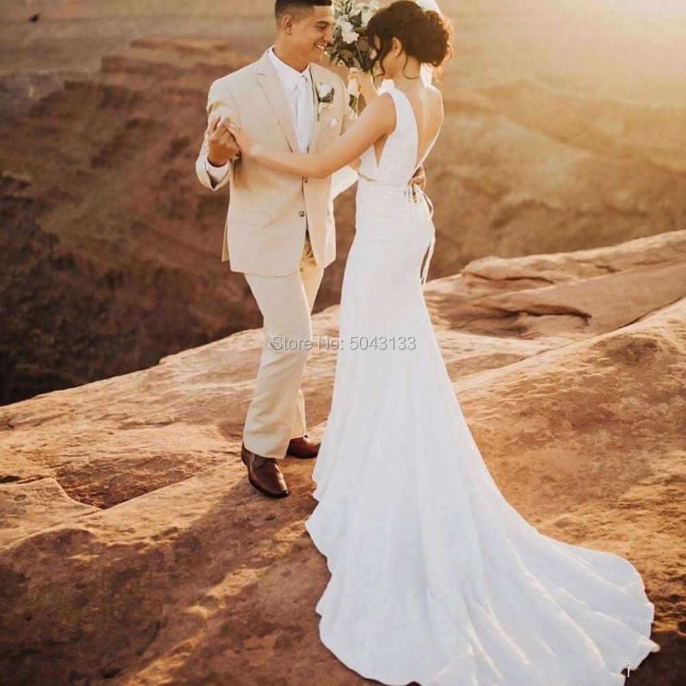 Elegant Satin V Neck Mermaid Wedding Dresses 2019 Beading Sash Boho Wedding Bridal Gowns Backless Court Train Vestidos Noiva