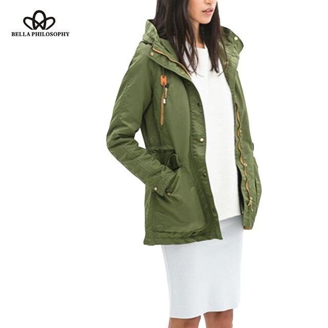 2015 autumn winter new casual DrawString Pocket army green padded warm women jacket parka coat hooded