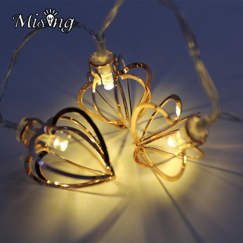 Mising 1M 10 LED 2 X AA Battery Heart Shaped Metal String Lights WarmWhite Outdoor Garden Lamp for Chirstmas Party Decoration