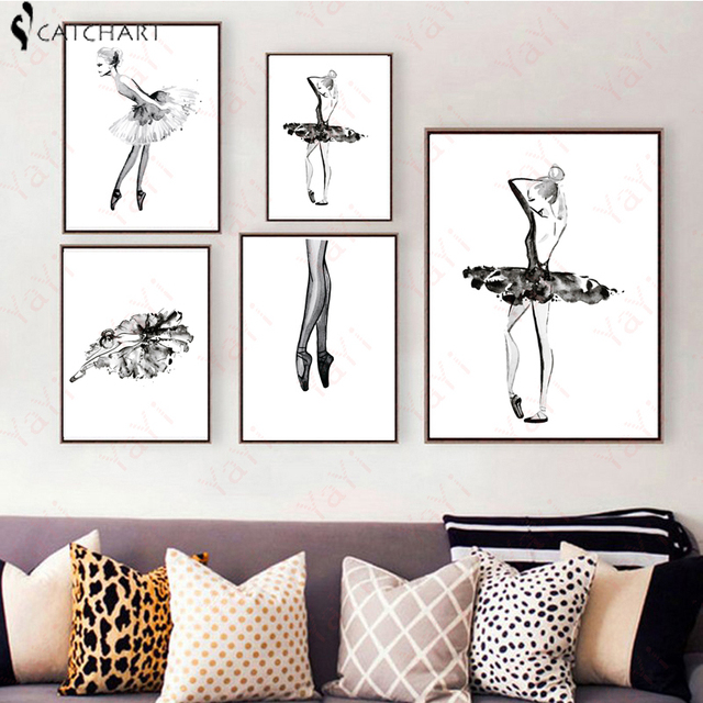 Modern black white ballet dancer silhouette girl watercolor art print poster wall picture canvas painting ballerina