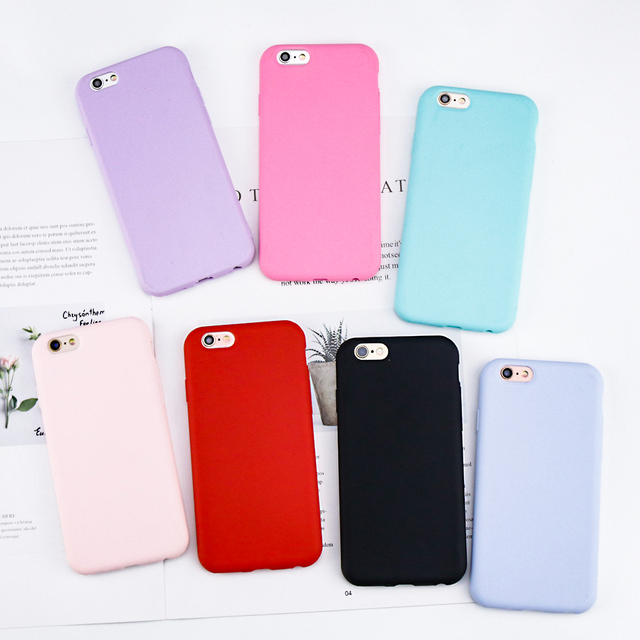 cheaper 36b33 26bd4 For iPhone 6 Case Candy Color Matte Soft TPU Back Cover Shell Coque For  Apple iPhone 7 6 6s 8 Plus X Cases Original Protective