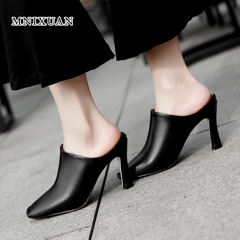 MNIXUAN Europen shoes women sandals 2018 new fashion genuine leather sexy super high heels suqare toe thin heel mules slippers mnixuan women slippers sandals summer