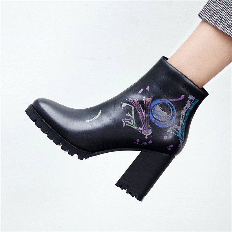 Image 4 - FEDONAS Fashion New Women Prints Ankle Boots High Heels Zipper Night Club Party Shoes Woman Punk Autumn Winter Basic Boots Pumps-in Ankle Boots from Shoes