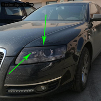 A6 C6 Carbon Fiber Headlight Eyelid Trim Headlamp Eyebrow for Audi A6 C6 2005 2011