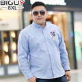 BIG GUY 150KG Plus Size Embroidery Mens Shirt 2017 Spring Long Sleeve Men Shirts Oversized Casual Fat Male Clothing 1413 PZ3
