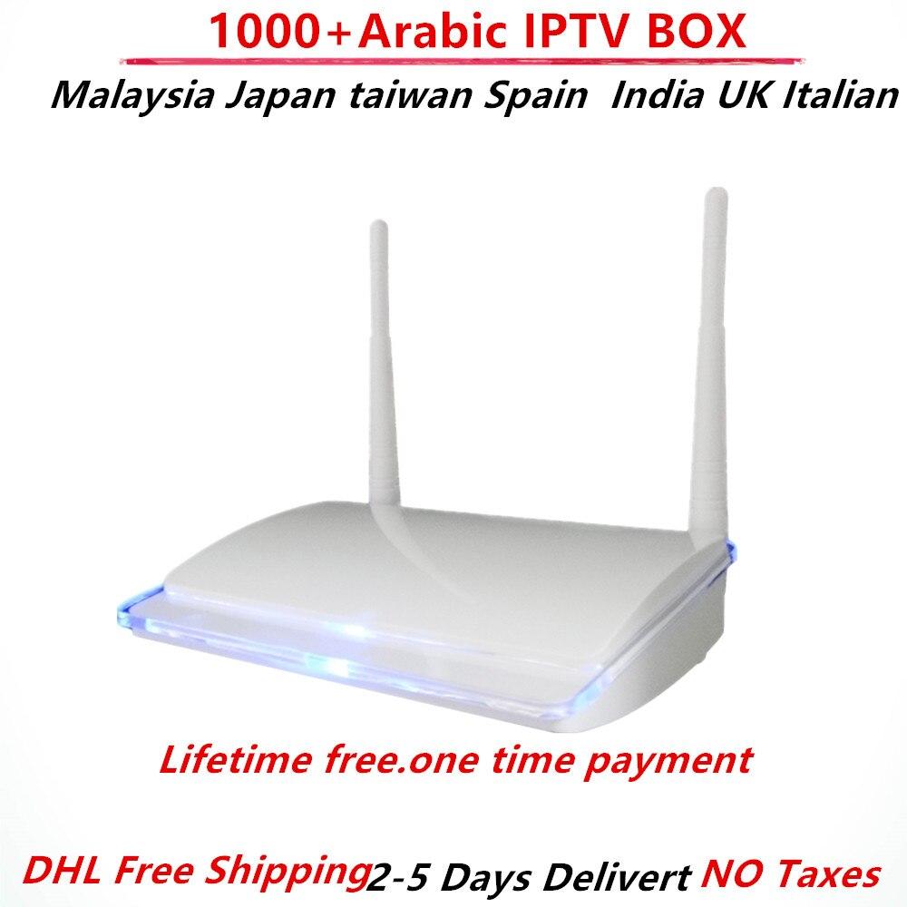 Peigne Arabe IPTV Boîte Abonnement Allemagne Malaisie Usa France Espagne Inde ROYAUME-UNI Italie Canaux HD Tv Boîte Vie livraison 1000 + canal