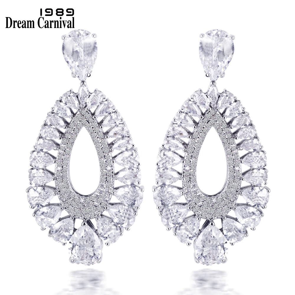 DreamCarnival1989 6 Colors Women's Deluxe Statement Drop Earrings Green Montana Crystal Clear Champagne Siam Rhodium Gold-Color