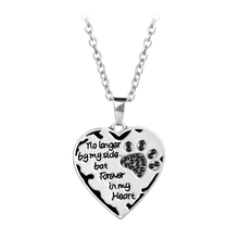No Longer Be My Side But Forever In Heart Pink White Silver Crystal Cats Dogs Paws Claw Print & Necklace Hot Sale