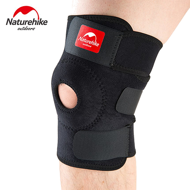 NatureHike Adjustable Elastic Knee Support Brace Kneepad Patella Knee Pads Hole Sports Kneepad Safety Guard Strap For Running 1 piece leg elastic sports knee brace wrap protector cap patella knee guard rubber pressurization knee sleeve pads q7 brand new