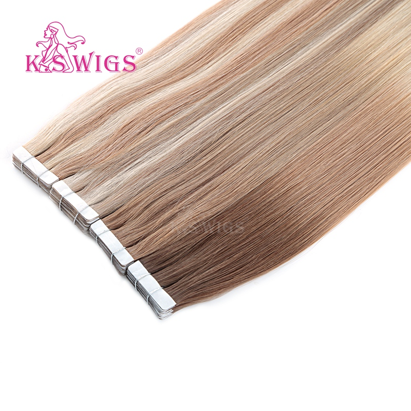 K.S WIGS Straight Tape In  Remy Hair Extensions Double Drawn Skin Weft On Adhesive Piano Color 16'' 20'' 24''