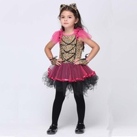 Kids Girl Purple Leopard Design Cosplay Costume Children Halloween Party Animal Footprint Print Tutu Dress With