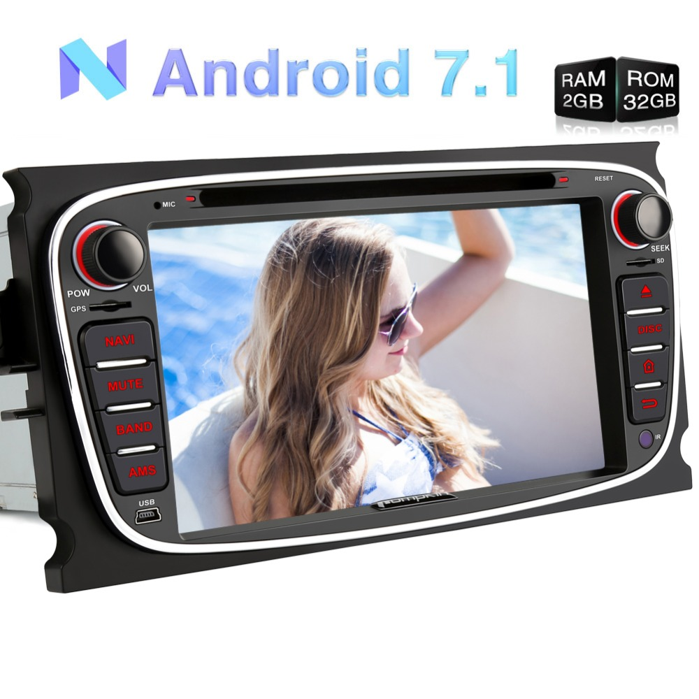Pumpkin 2 Din Android 7.1 Car DVD Player GPS Navigation Bluetooth Car Stereo For Ford Mondeo/Focus Wifi Quad-core FM Rds Radio цены