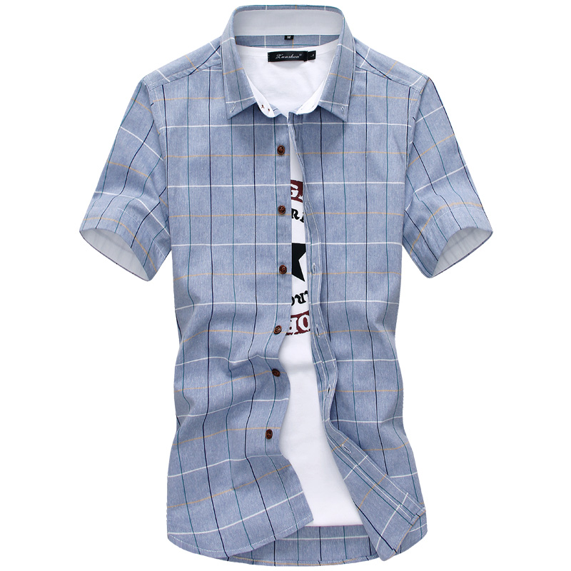 HANQIU Plaid shirts Men 2019 100% Cotton Short Sleeved Summer Casual camisa masculina