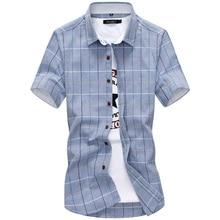 Клетчатые мужские рубашки Новая мода хлопок с коротким рукавом летняя повседневная мужская рубашка camisa masculina мужские рубашки