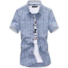 Plaid shirts Men 2019 New Fashion 100% Cotton Short Sleeved