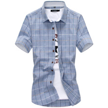 Plaid shirts Men 2019 New Fashion 100% Cotton Short Sleeved