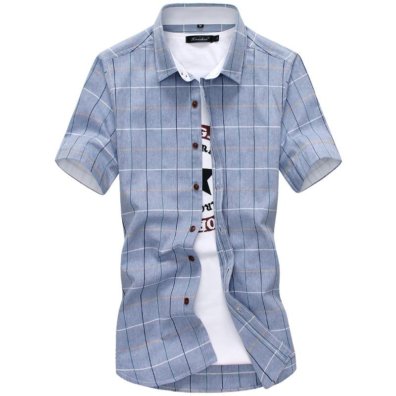 Plaid Shirts Men 2020 New Fashion 100% Cotton Short Sleeved Summer Casual Men Shirt  Camisa Masculina Mens Dress Shirts