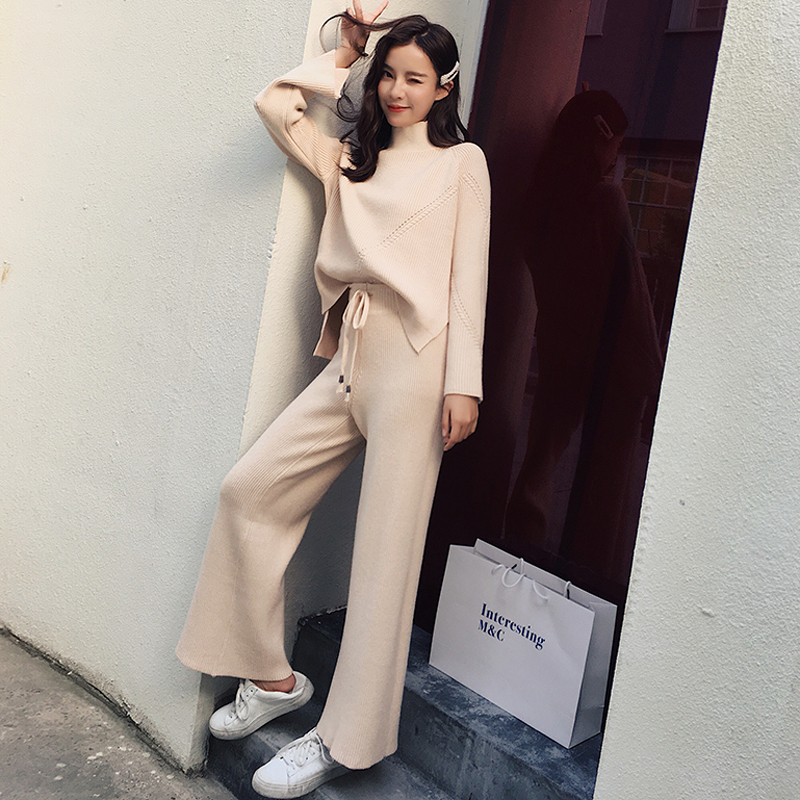 Autumn Knitted 2 Pieces Set Turtleneck Pullover Sweater & Elastic Waist Wide Leg Pants Suits Casual Winter Women Tracksuits