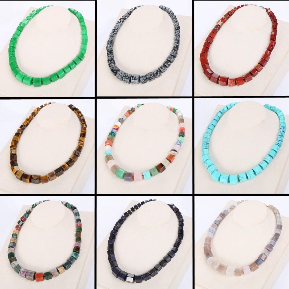 Women Rainbow Necklace Ethnic Men Big Choker Stone Statement Female Healing Onyx Garnet Crystal Azurite Opal Malachite Quartz