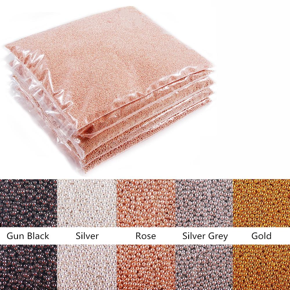 Wholesale Price 1kg bag Rose Gold Silver Black Metal Mini Steel Ball Caviar Bead 3d Nail