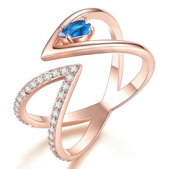Rose Gold V Letter Open Size Fashion Ring 4