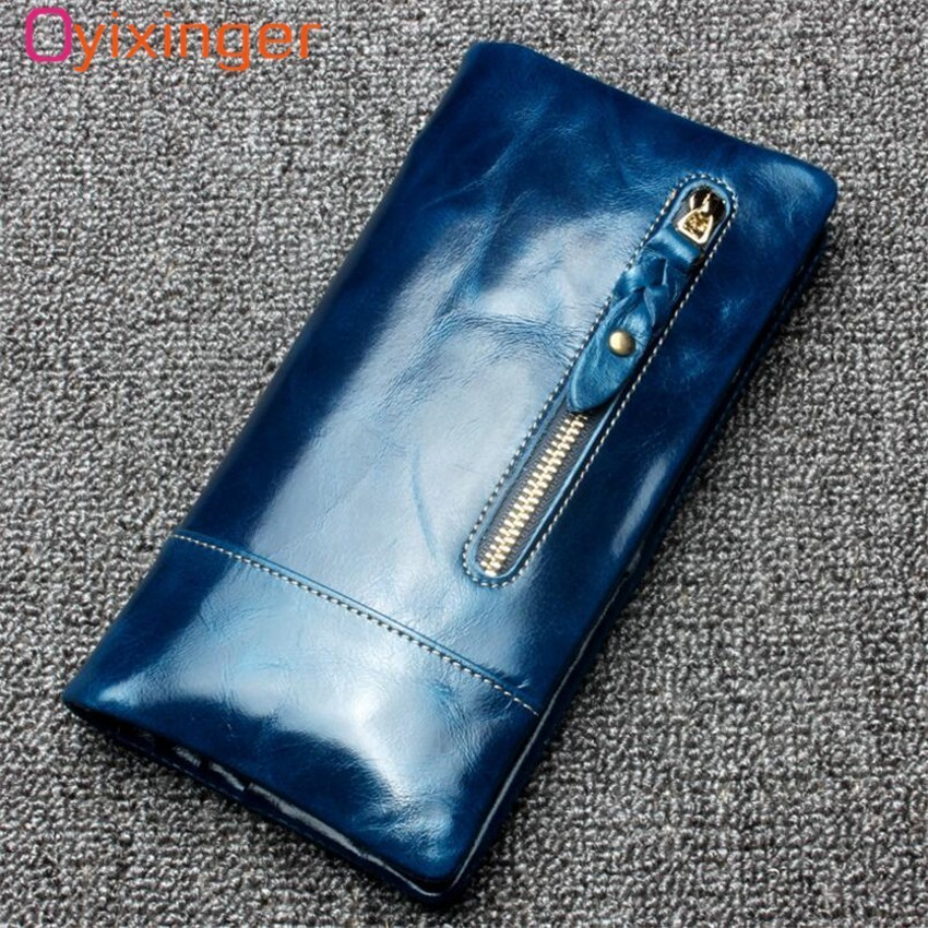 Oyixinger Men High Quality Genuine Leather Wallet Long Design Women Purse Luxury Brand 2018 New Fashion Ladies Money Card Purse 100% brand new and high quality student macaron bow serie fashion change purse ap3